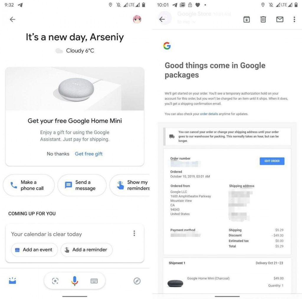 Regali da Google Home Mini in omaggio per chi utilizza Assistant