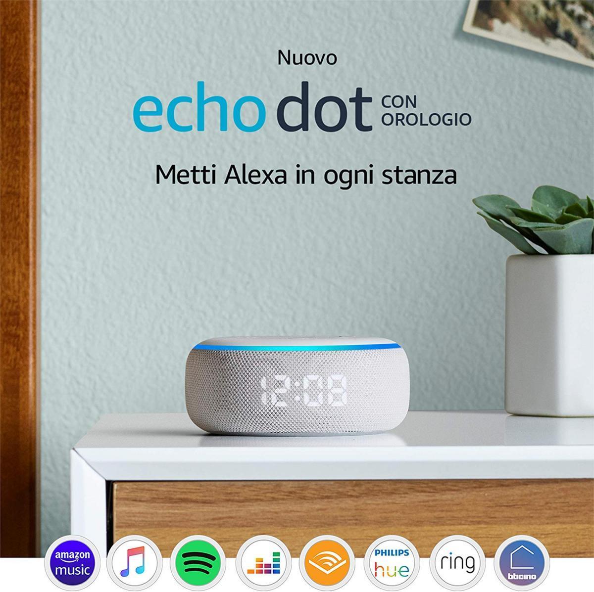 1 - Echo Dot (3ª generazione) - Altoparlante intelligente con orologio e Alexa