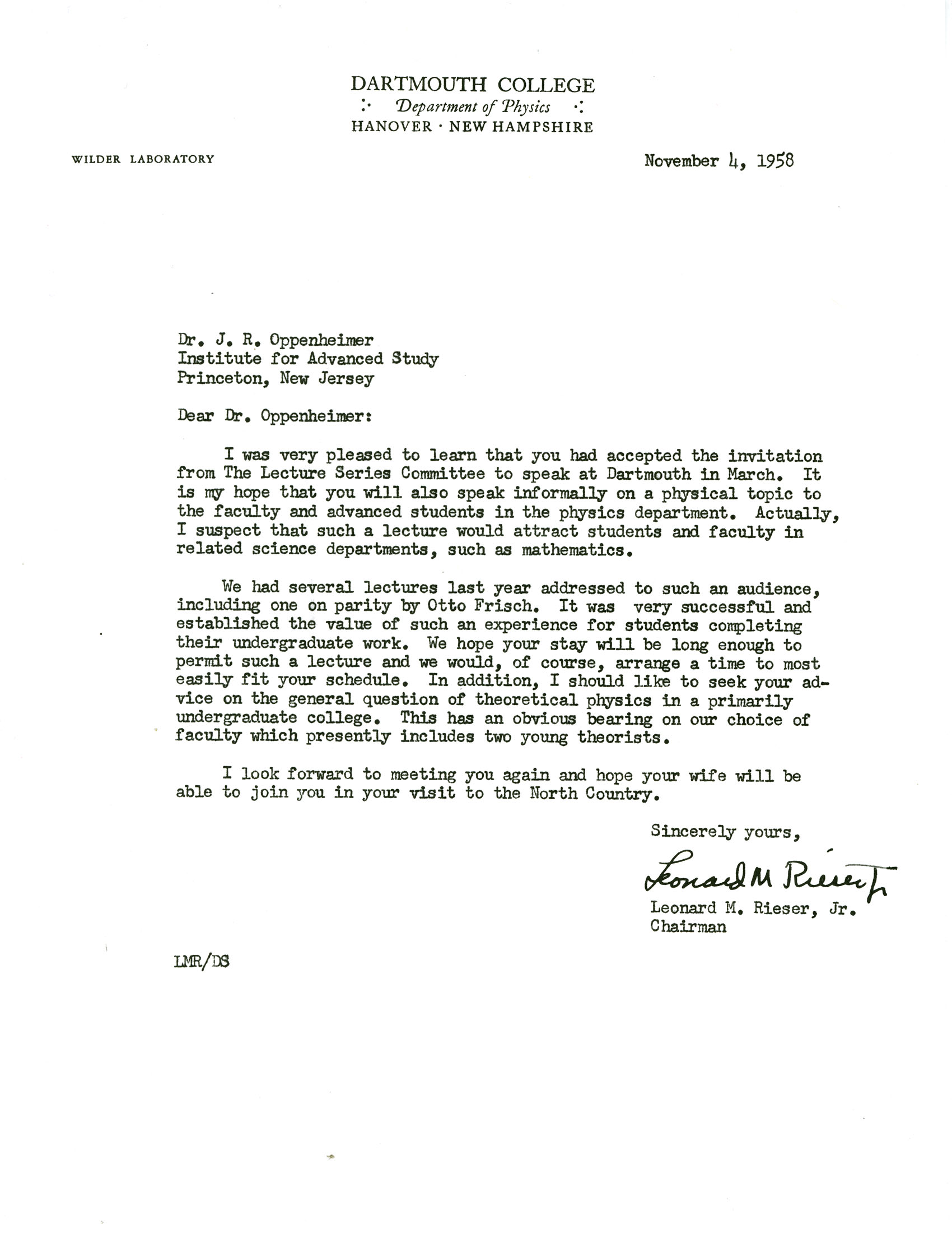 Letter From Leonard Rieser Jr Dartmouth College To