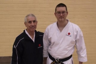 Chris Mytton & Sensei Sherry after achieving his 2nd Dan