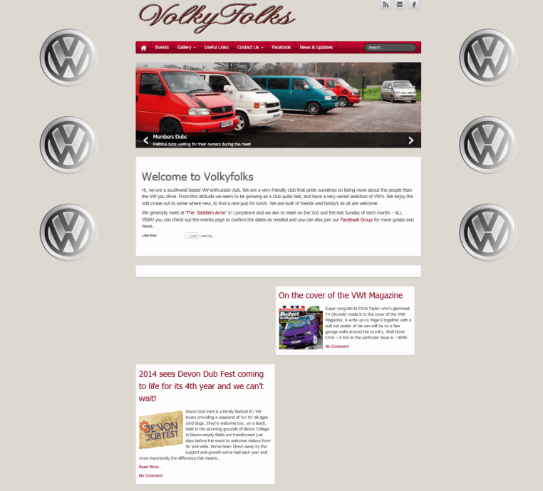 New Website for   Volkyfolks a VW Enthusiast club nr Exeter in Devon