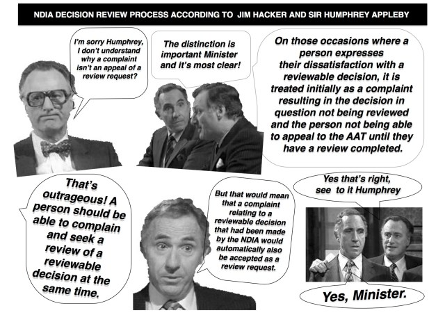 Comic strip featuring Jim Hacker and Sir Humphrey Appleby from Yes Minister. Hacker looking confused saying:
