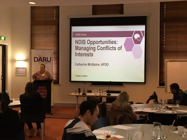 Catherine McAlpine from AFDO presenting at an Advocacy Secotr Conversations forum.