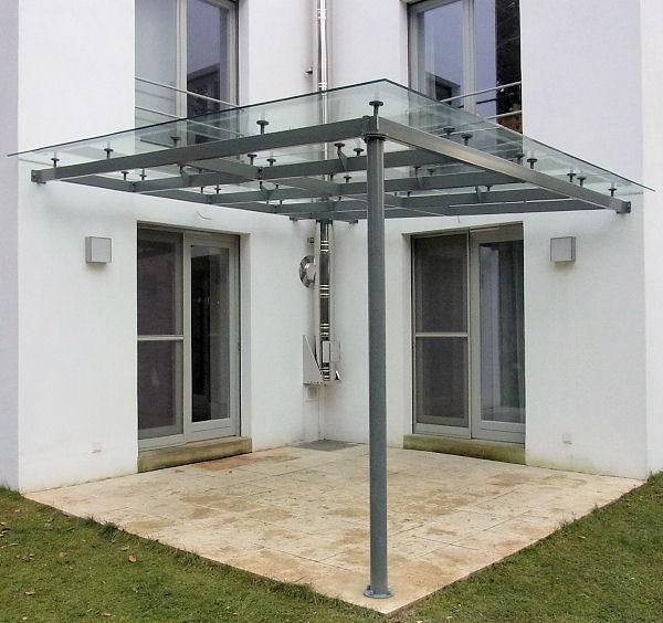 Terrassen √úberdachung Aus Echtglas Und Edelstahl Pfeilern