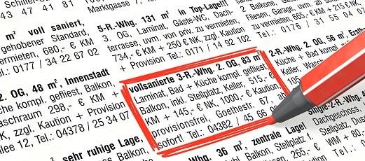 Wohnungsanzeigen in der Zeitung  DAS Rechtsportal  D