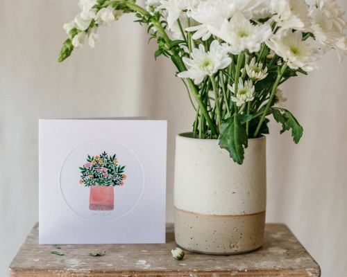 White Stoneware Vase and Greeting card set, Simplicity and Minimalism, Handmade Ceramics, Handmade card, Perfect gift idea, Gift for her