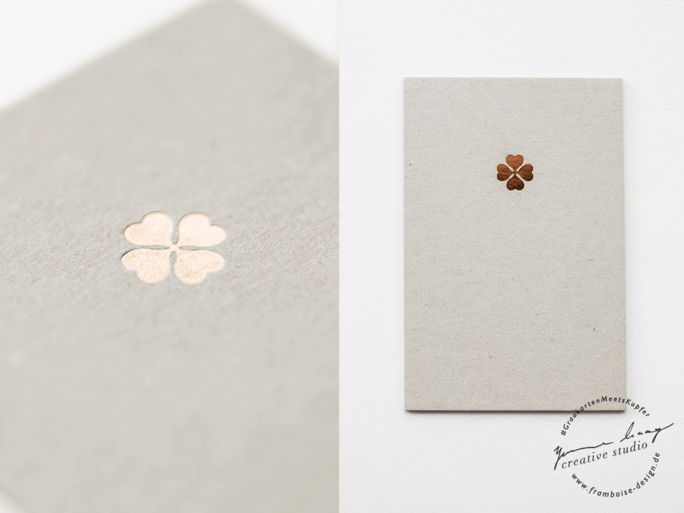 Frambiose Design - Graukarten meets Kupfer Kleeblatt Papeterie Hochzeit