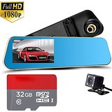 "Dual Lens Dash Cam,Inrigorous 4.3"" TFT Display Rear View Mirror Car DashCam,140 Wide Degree DVR Accident Video"