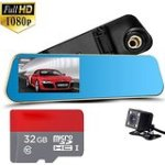 "Dual Lens Dash Cam,Inrigorous 4.3"" TFT Display Rear View Mirror Car DashCam,140 Wide Degree DVR Accident Video"