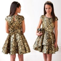 DAVID CHARLES Girls Black & Gold Jacquard Party Dress ...