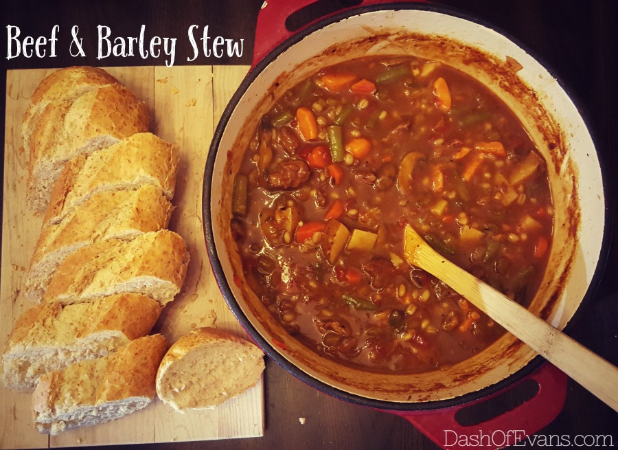 Beef & Barley Stew served with crusty bread | @DashOfEvans