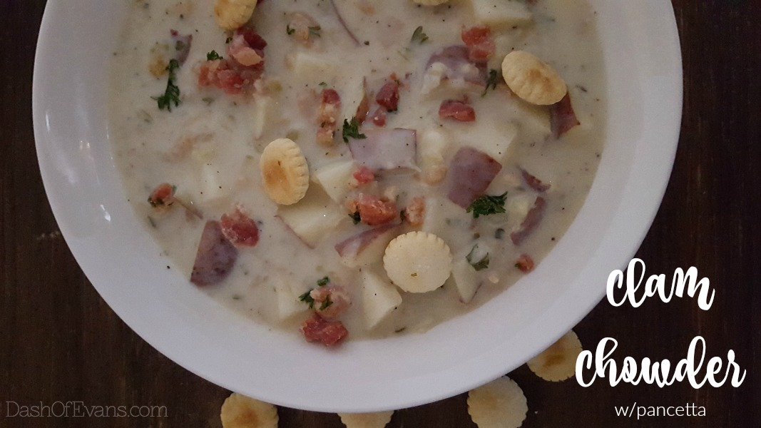 Clam Chowder with Pancetta| www.dashofevans.com