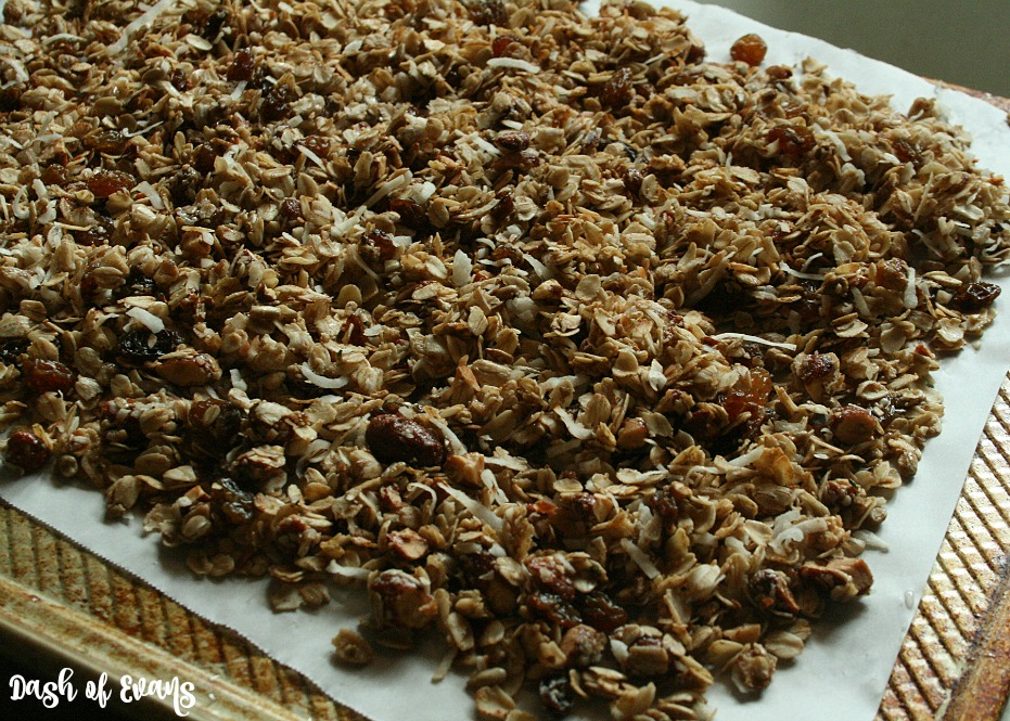 5-Minute Honey Roasted Almond Granola. Who knew you could cook granola in a skillet?! • @DashOfEvans
