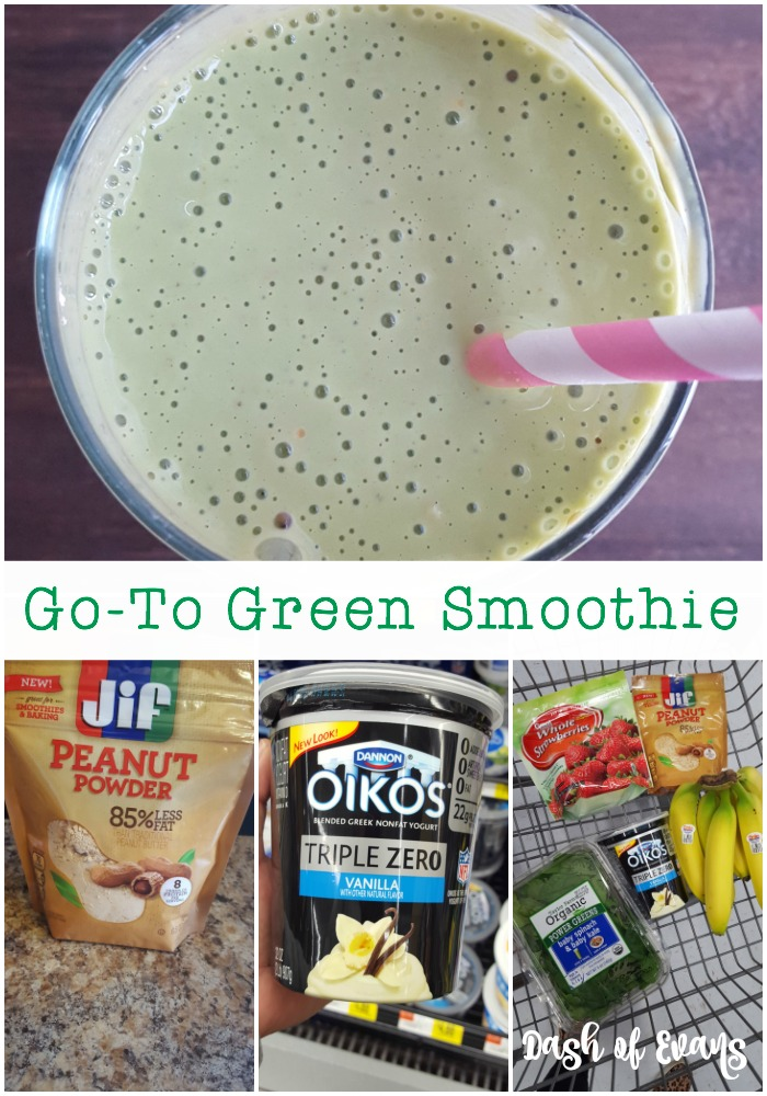 Busy mornings? Make these quick smoothie kits during your Sunday prep! Go-to-green includes Oikos Triple Zero nonfat Greek yogurt, Jif powdered PB, banana and spinach/kale mix. Almost like a dessert for breakfast! #MySmoothie (ad)