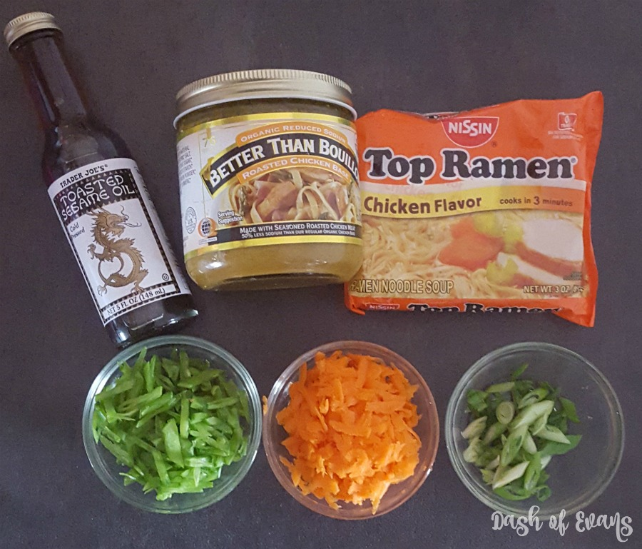 A doctored up ramen noodle soup with veggies, eggs and sesame oil. via @DashOfEvans
