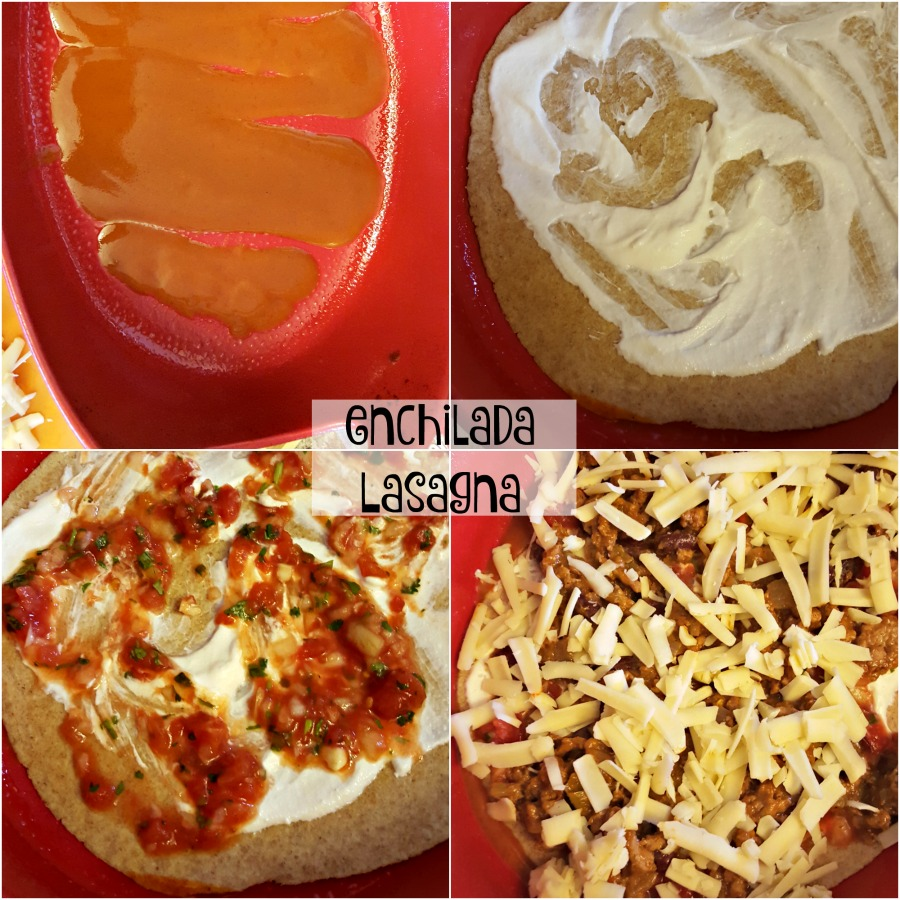 Give lasagna a Mexican twist with enchilada sauce! Perfect for your next fiesta. via @DashOfEvans