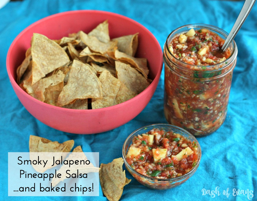 Smoky Jalapeno + Pineapple Salsa! Mixes items from your pantry with fresh to make a killer salsa for any party--get ready for some heat! Also, how to make the BEST baked chips. via @DashOfEvans