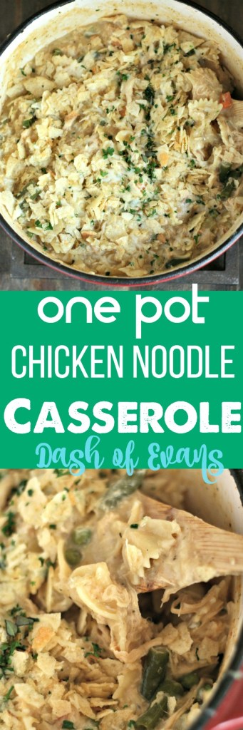 Comfort food in a snap: One Pot Chicken Noodle Casserole. No need to boil noodles, just throw it all in a pot and you've got dinner in 30! via @DashOfEvans