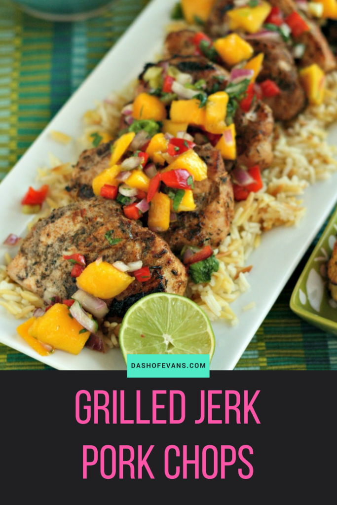 Get grilling with these awesome jerk pork chops! Perfect for an Island themed party or weeknight meal, there's a perfect rice pilaf recipe and a savory, sweet plantain recipe. YUM! via @DashOfEvans