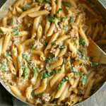 One Pot Penne Rosa with sausage for those nights when you need dinner PRONTO! Find everything @Walmart! via @DashOfEvans (ad) #OnePotPronto