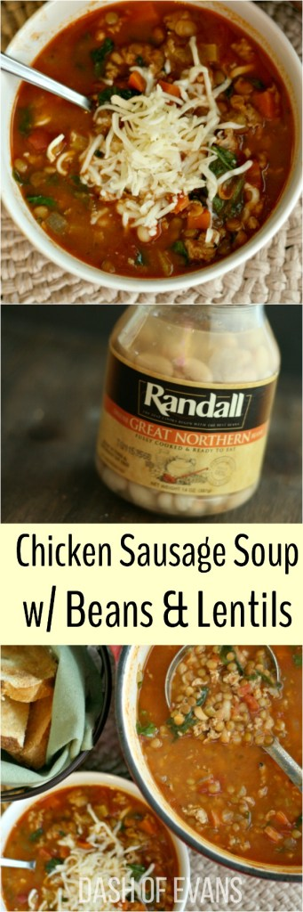 Chicken Sausage Soup w/ Randall Beans & Lentils--YUM! Sure to be your new favorite soup for cooler weather! via @DashOfEvans