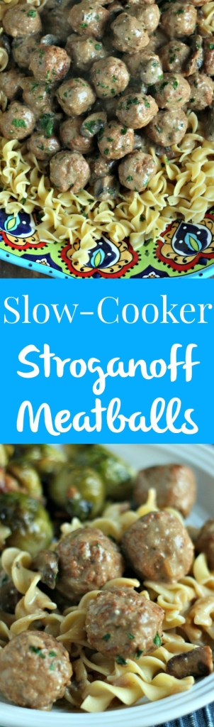 Looking for simple comfort food during your busy weekday? Slow-Cooker Stroganoff Meatballs are perfect--plus all items are from Aldi! via @DashOfEvans