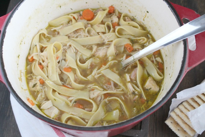 The only Chicken Noodle Soup recipe you'll ever need--warm, comfroting soup, just like Grandma made it! via @DashOfEvans