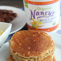 Light, fluffy pancakes using Nancy's Whole Milk yogurt and spiralized apples. YUM! via @DashofEvans
