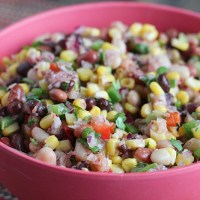 Doesn't this salad look like summer?! Mixed beans, corn, peppers and a tangy dressing, this is a healthy side for your next fiesta. Also great with chips! via @DashOfEvans