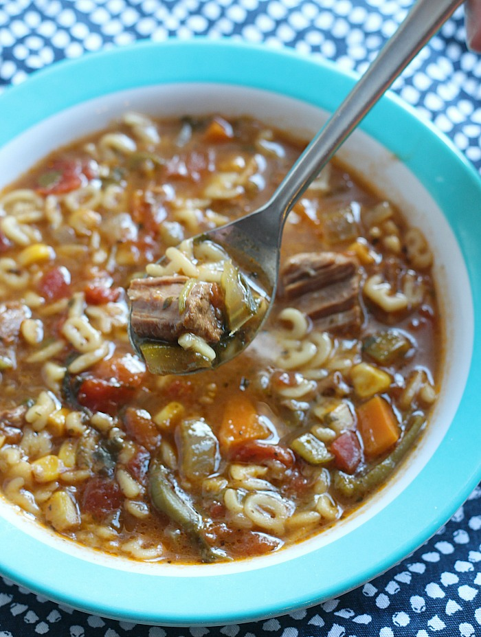 Let's bring back the thermos! This ABC Beef Soup is chock full of veggies and filling enough for the lunchbox. via @DashOfEvans