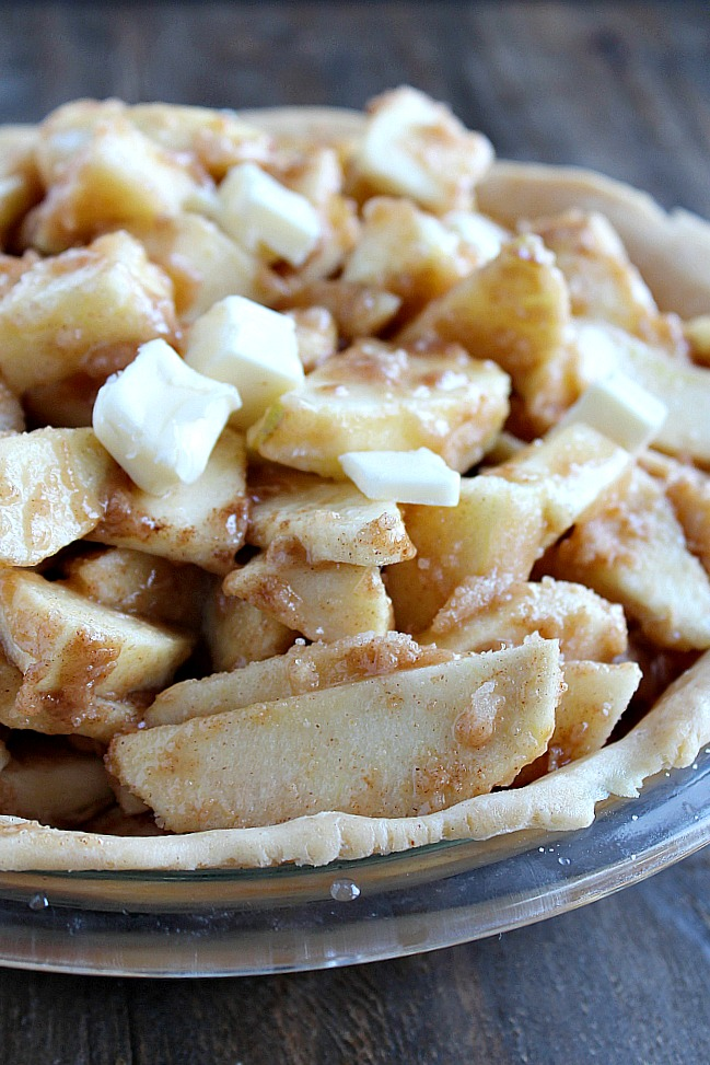 Make this delicious Apple Pie with caramel with your kiddos. The recipe follows the book Amelia Bedelia's Apple Pie, be sure to get the book for a family fun night together. via @DashOfEvans