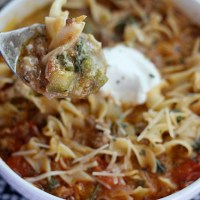 The BEST Lasagna Soup Recipe! Filled with veggies and hearty beef, this soup is the perfect way to use your No Yolks noodles! via @DashOfEvans