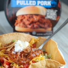 Curly's Pulled Pork Taco Salad with Avocado Ranch Slaw
