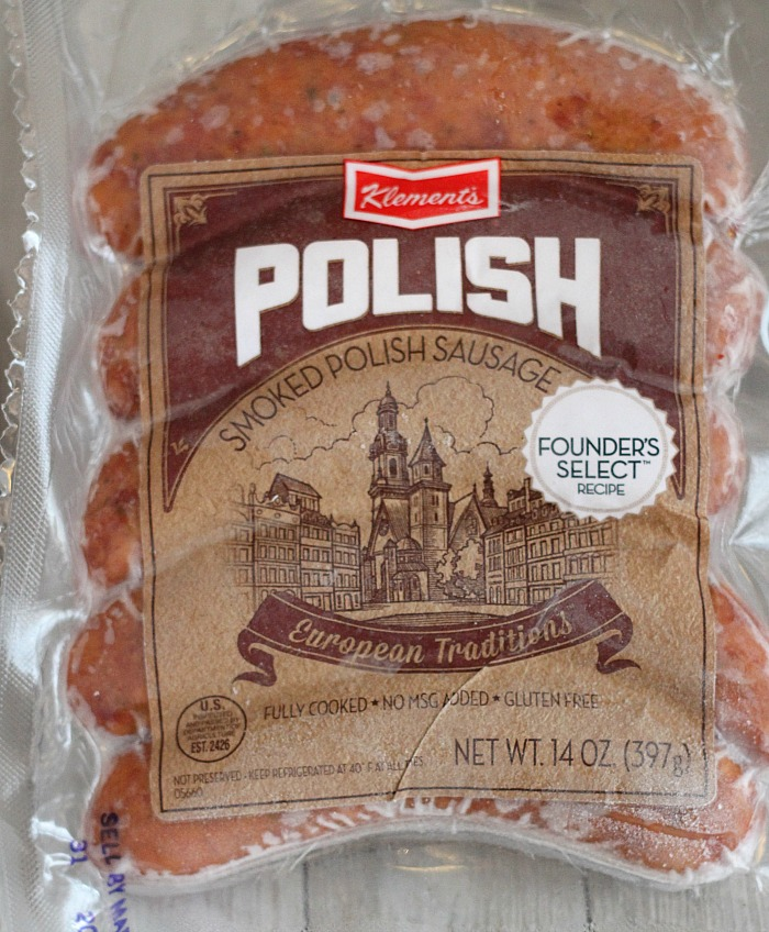 Easy weeknight dinner idea: Klement's Polish sausage & pierogies! Dinner can be ready in less than 20 minutes. Serve with a side of applesauce or veggies. Sour cream dollop is a must! via @DashOfEvans #WhatsCookingWednesday