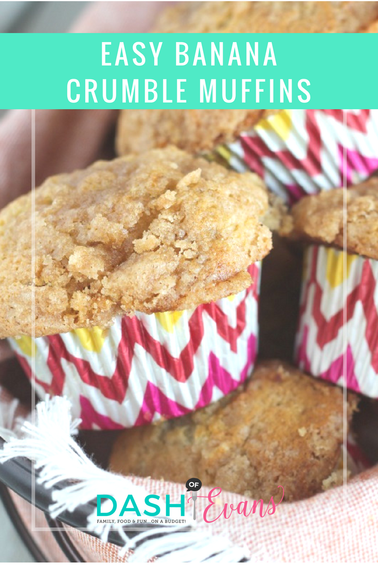The perfect Banana Crumble Muffins--turn out perfectly every time and a great way to use up brown bananas. This makea a simple breakfast or after-school treat! via @DashOfEvans