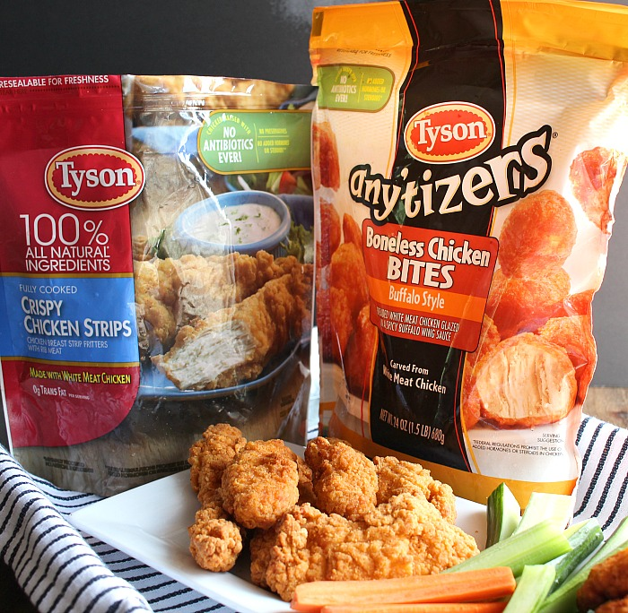 These two easy game day dips are perfect to prep ahead so you can enjoy your party! Tyson® Chicken Strips and Any'tizers, plus Snyders of Handover® pretzels are the perfect dunkers. Wisconsin Beer Cheese dip and Veggie Blue Cheese dip can't be missed! via @DashOfEvans