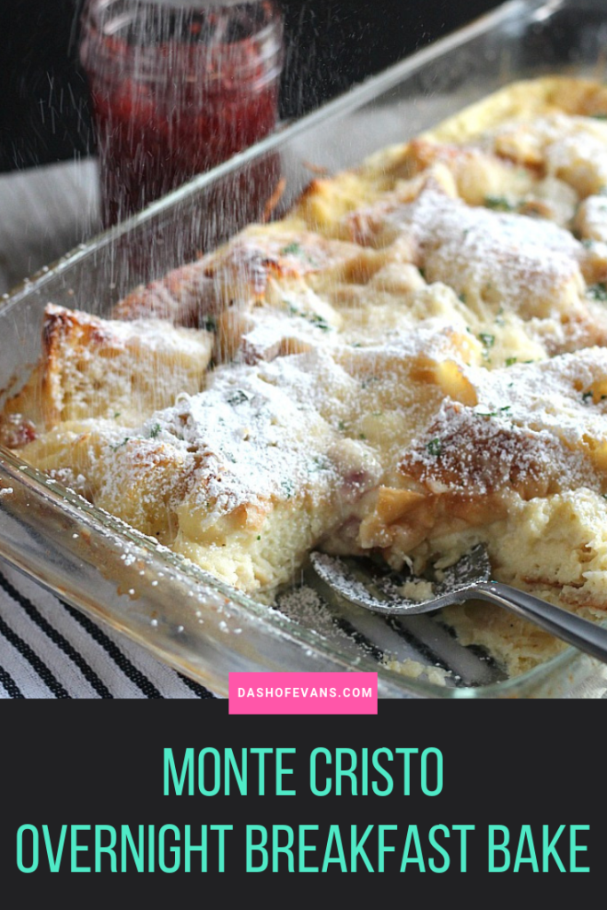 This Monte Cristo overnight breakfast casserole has all of the flavors of your favorite sandwich, but so much easier. Eggs are whisked with dijon, then Bay's English Muffins, Swiss cheese and ham cubes are folded in. This breakfast casserole is perfect for weekends or holiday brunch! via @DashOfEvans #BetterWithBays #AD