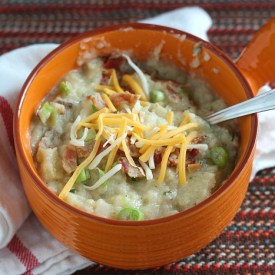 Loaded Baked Potato Soup with Roasted Garlic