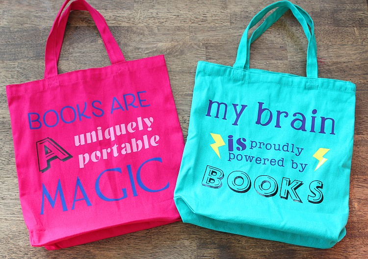A small book tote for your kiddo makes a great gift or project for them to help you with! Perfect for going to grandma's house, too! I used my Cricut Air Explore 2, Mini Press 2 and Cricut iron-on vinyl for this project. via @DashOfEvans
