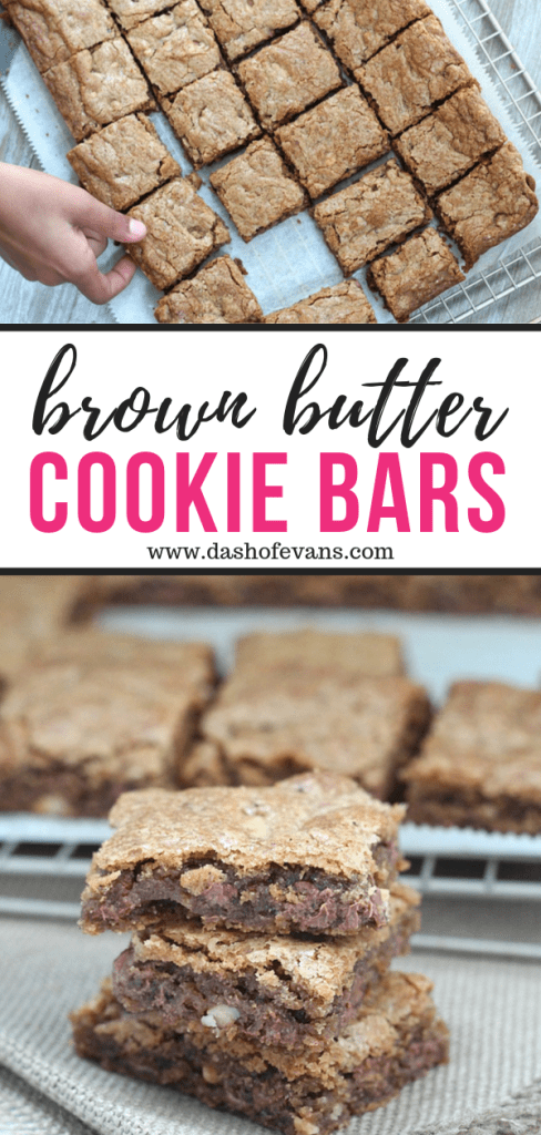 Looking for the best cookie bar recipe around? This recipe is for you! The combo of creamy milk chocolate chips and crunchy toasted walnuts can't be beat! Don't forget the essential unami part: brown butter. YUM! via @DashOfEvans
