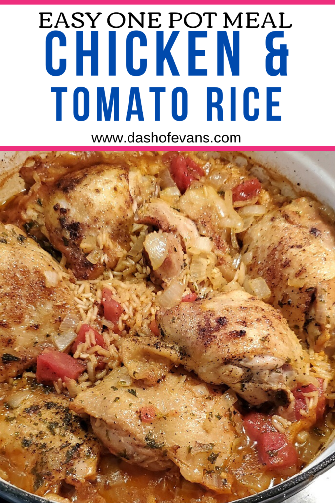 This easy chicken and rice recipe is a one pot meal that you won't want to miss out on!  Using bone-in chicken thighs, tomatoes, rice and onions. Perfect comfort food meal for a weeknight and feeds the whole family! via @DashOfEvans