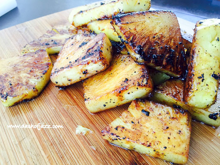 grilled pineapple pieces