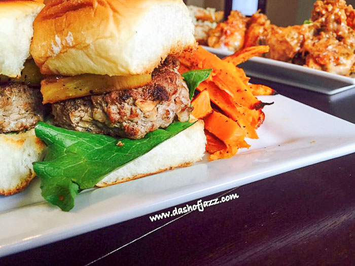 Hawaiian turkey burger slider and sweet potato fries