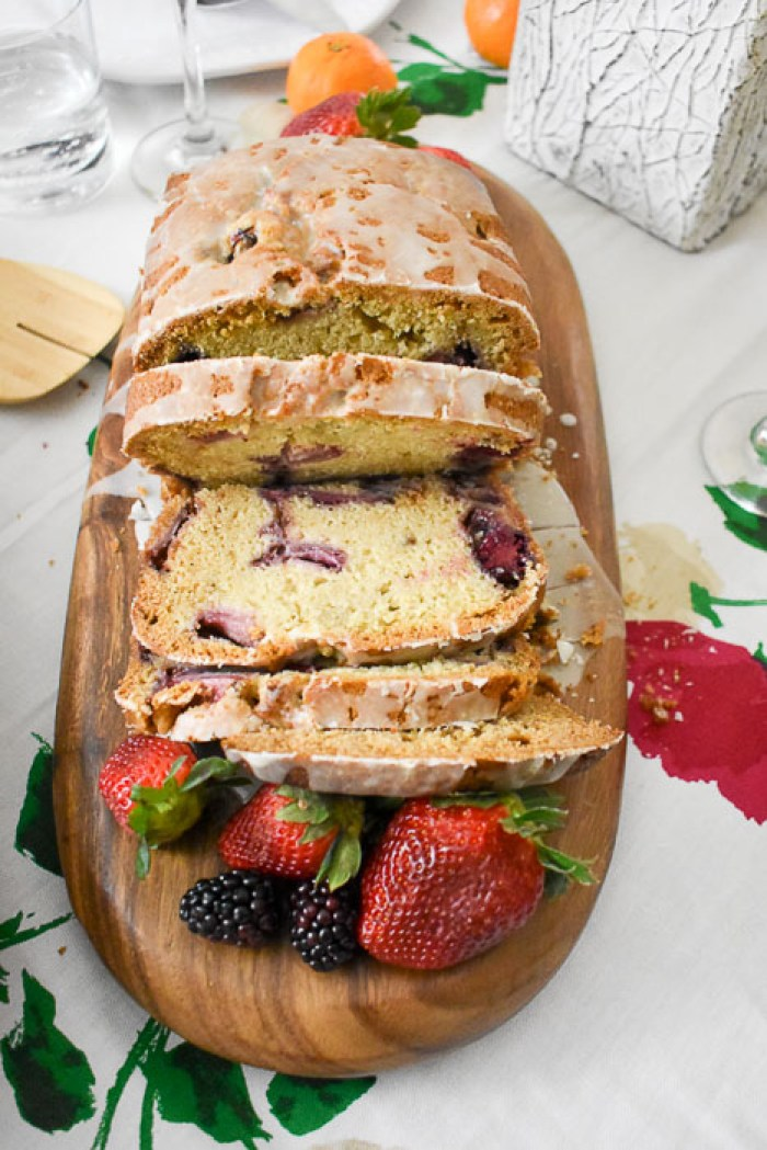 sliced loaf of lemon berry quick bread