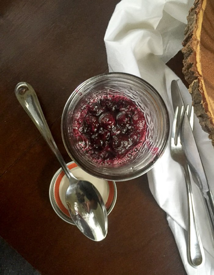 jar of homemade blueberry compote