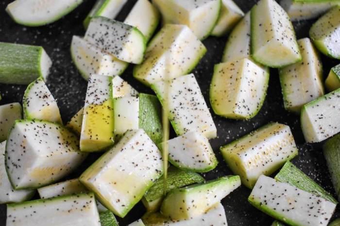 gray squash seasoned with black pepper, sea salt, and olive oil