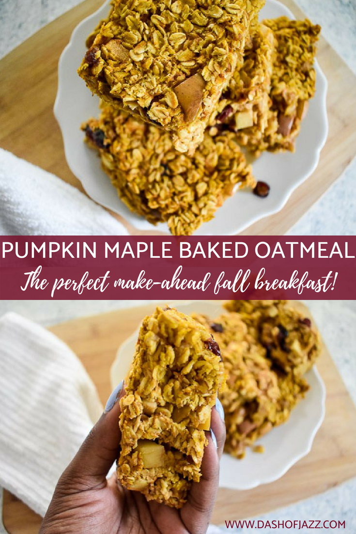 Capture the comfort of a warm bowl of oats and the flavors of Fall in this pumpkin maple baked oatmeal as an easy make-ahead breakfast for the whole week.