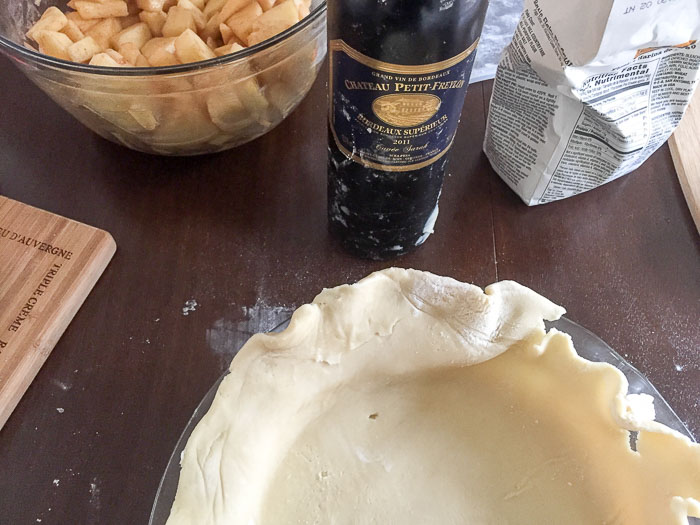 apple pie crust and wine bottle