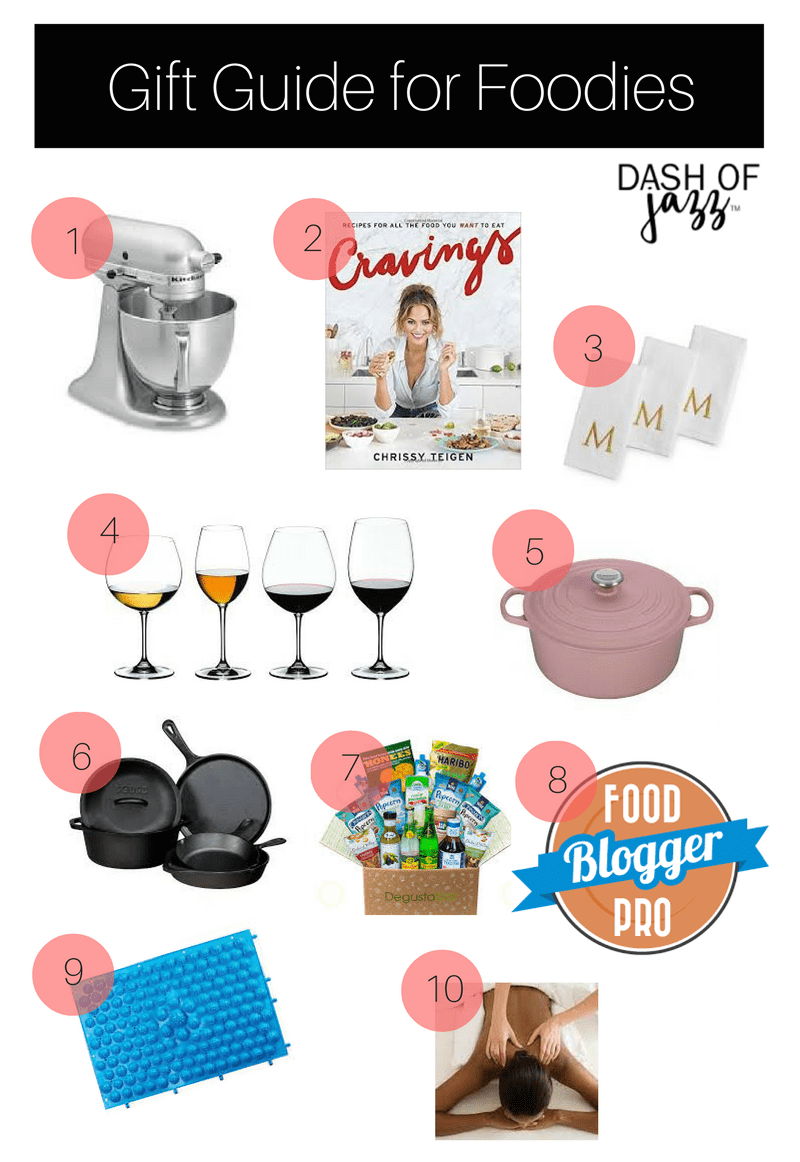 Practical inspiration for your holiday gift-giving to the foodies in your life. Check out this gift guide for foodies then check them off your list! by Dash of Jazz