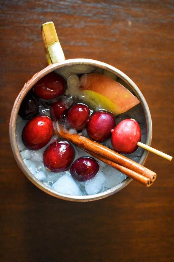 cranberry apple spice Moscow mule in classic copper mug
